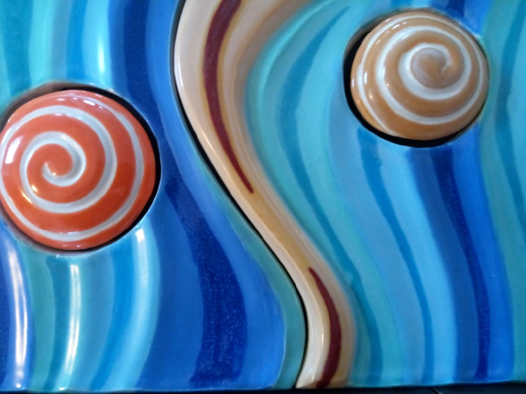 Wave And Swirl Ceramic Abstract Tiles By The Artist Richard Macatee Macatee Ceramics
